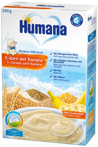 Cereale Humana cu 5 cereale si banane 200 g